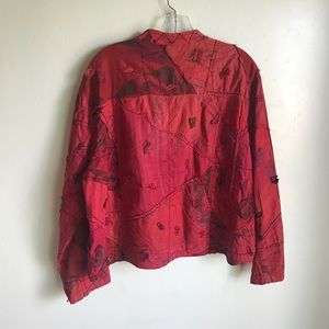 Chico's Jackets & Coats - Chico's Red Silk Short Patchwork Jacket Size 3